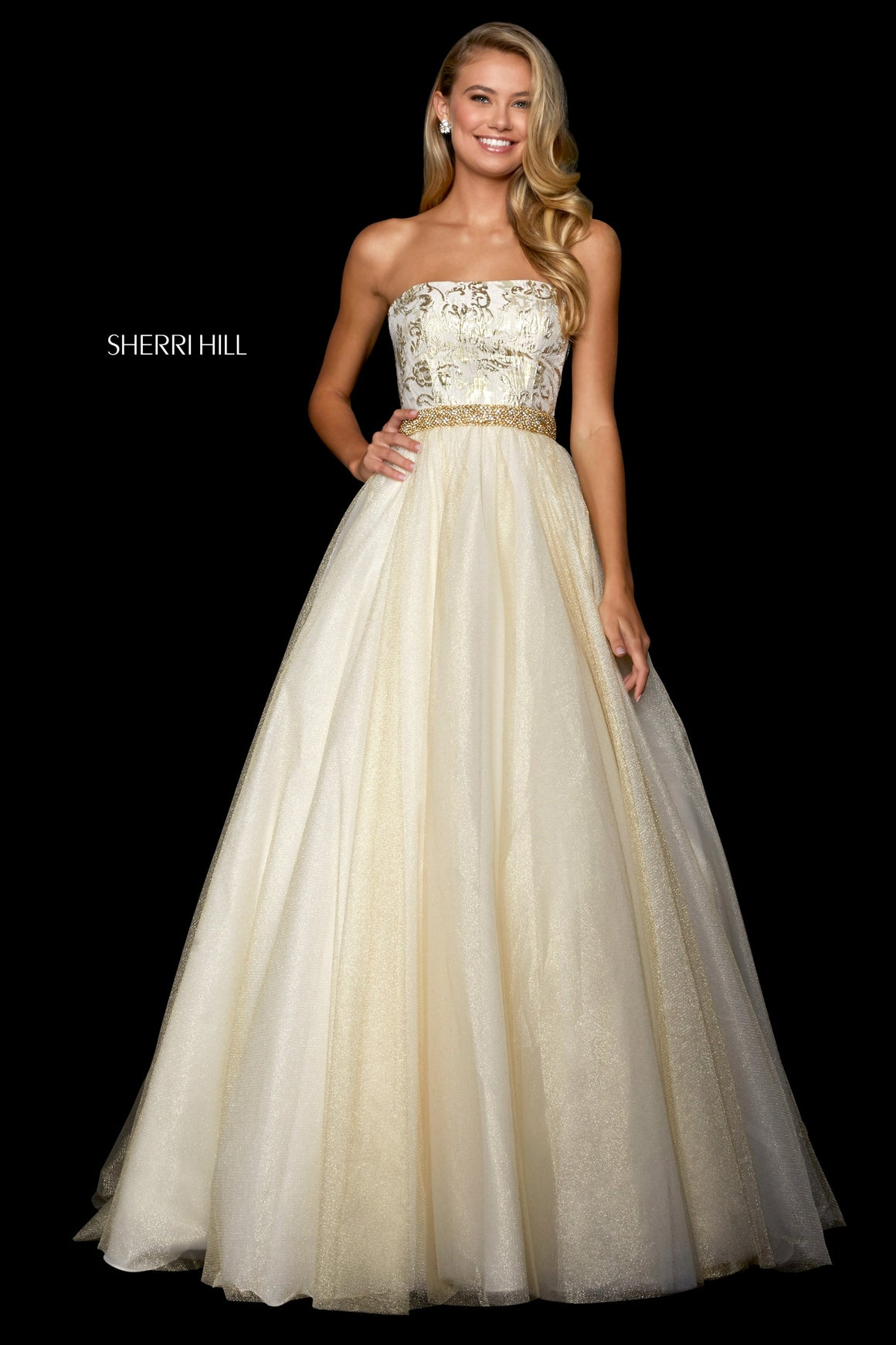 Sherri Hill 53256 prom dress images.  Sherri Hill 53256 is available in these colors: Light Blue Gold; Gold; Blush Gold.