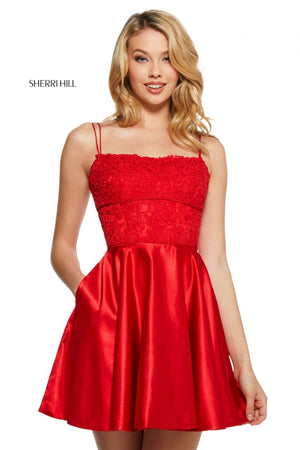 Sherri Hill 53258 prom dress images.  Sherri Hill 53258 is available in these colors: Royal; Red; Emerald; Lilac.