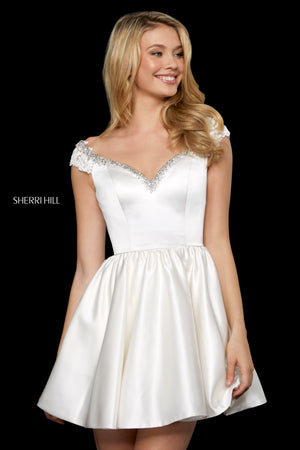 Sherri Hill 53260 prom dress images.  Sherri Hill 53260 is available in these colors: Ivory.