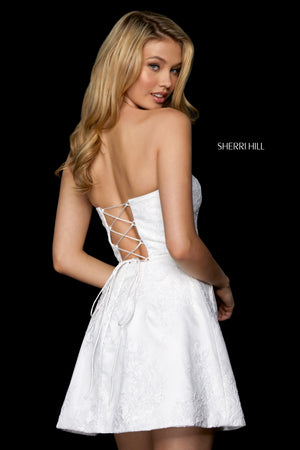 Sherri Hill 53263 prom dress images.  Sherri Hill 53263 is available in these colors: Black; Yellow; Ivory; Red; Blush; Light Blue.