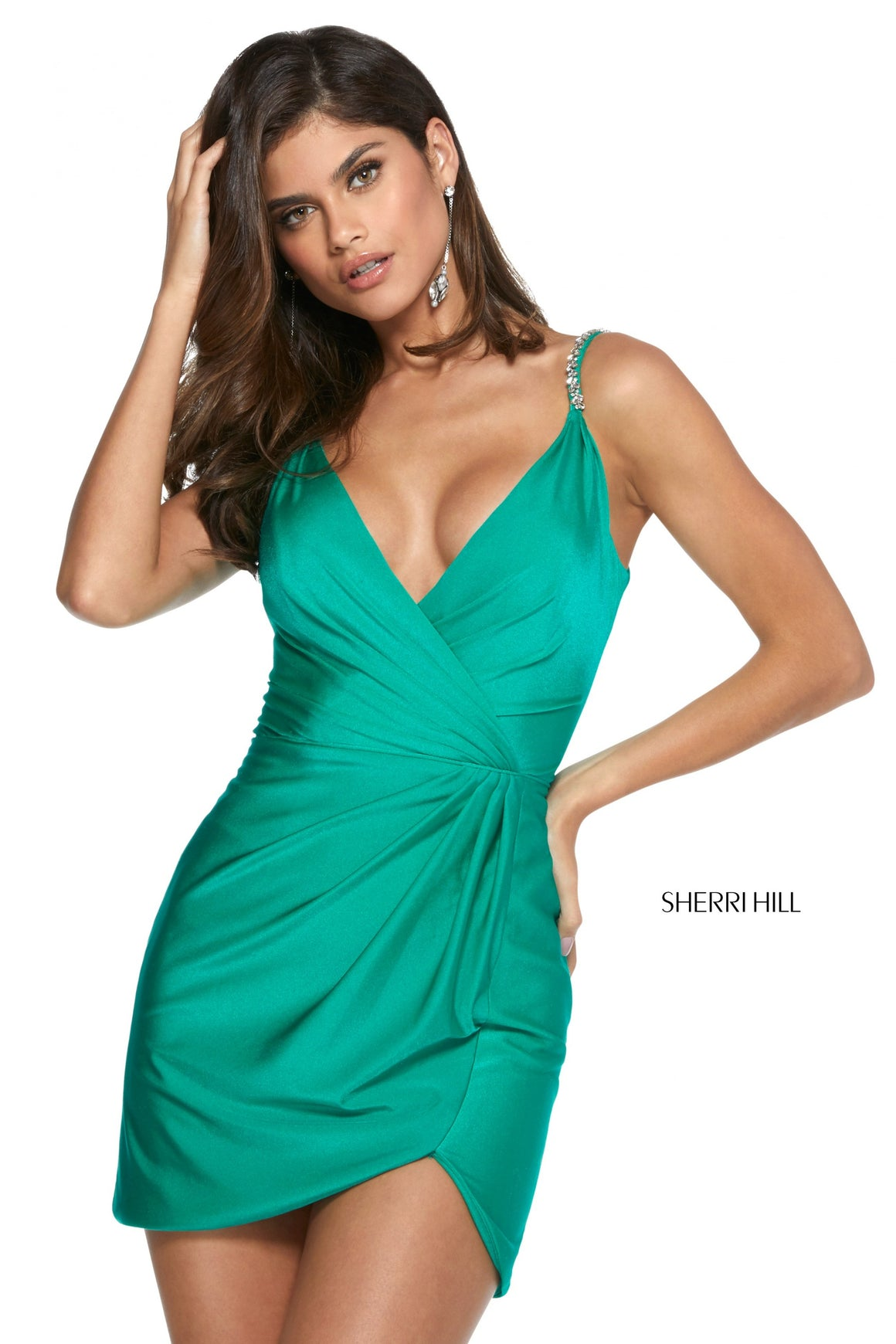Sherri Hill 53266 prom dress images.  Sherri Hill 53266 is available in these colors: Black; Royal; Hot Pink; Emerald.