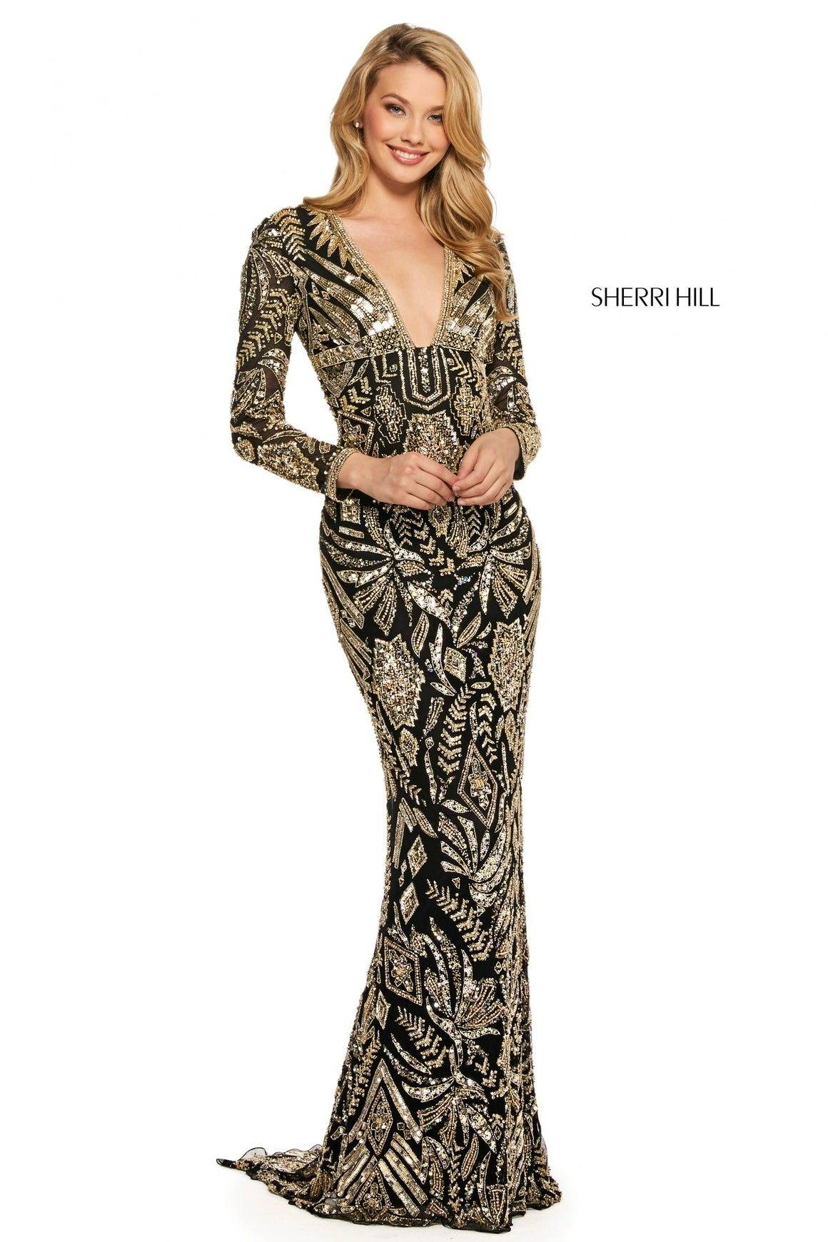 Sherri Hill 53270 prom dress images.  Sherri Hill 53270 is available in these colors: Ivory Gold; Black Gold.