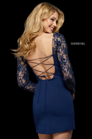 Sherri Hill 53278 prom dress images.  Sherri Hill 53278 is available in these colors: Red; Ivory; Black; Blush; Navy.