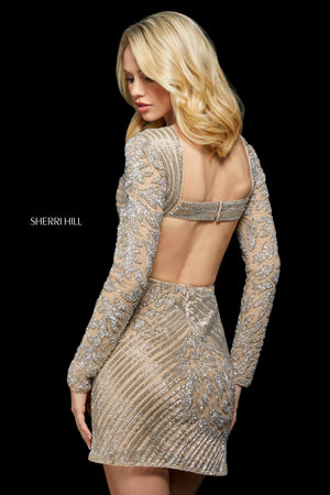 Sherri Hill 53279 prom dress images.  Sherri Hill 53279 is available in these colors: Nude Silver; Red; Gold; Silver; Black.