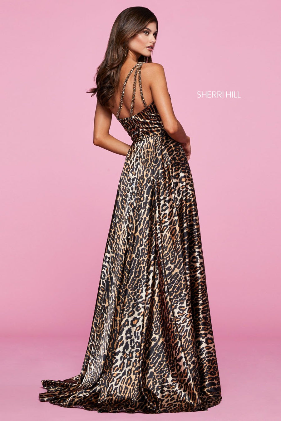 Sherri Hill 53296 prom dress images.  Sherri Hill 53296 is available in these colors: Animal Print.