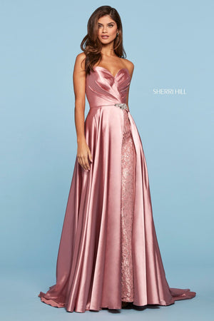 Sherri Hill 53297 prom dress images.  Sherri Hill 53297 is available in these colors: Red, Black, Rose, Ivory.