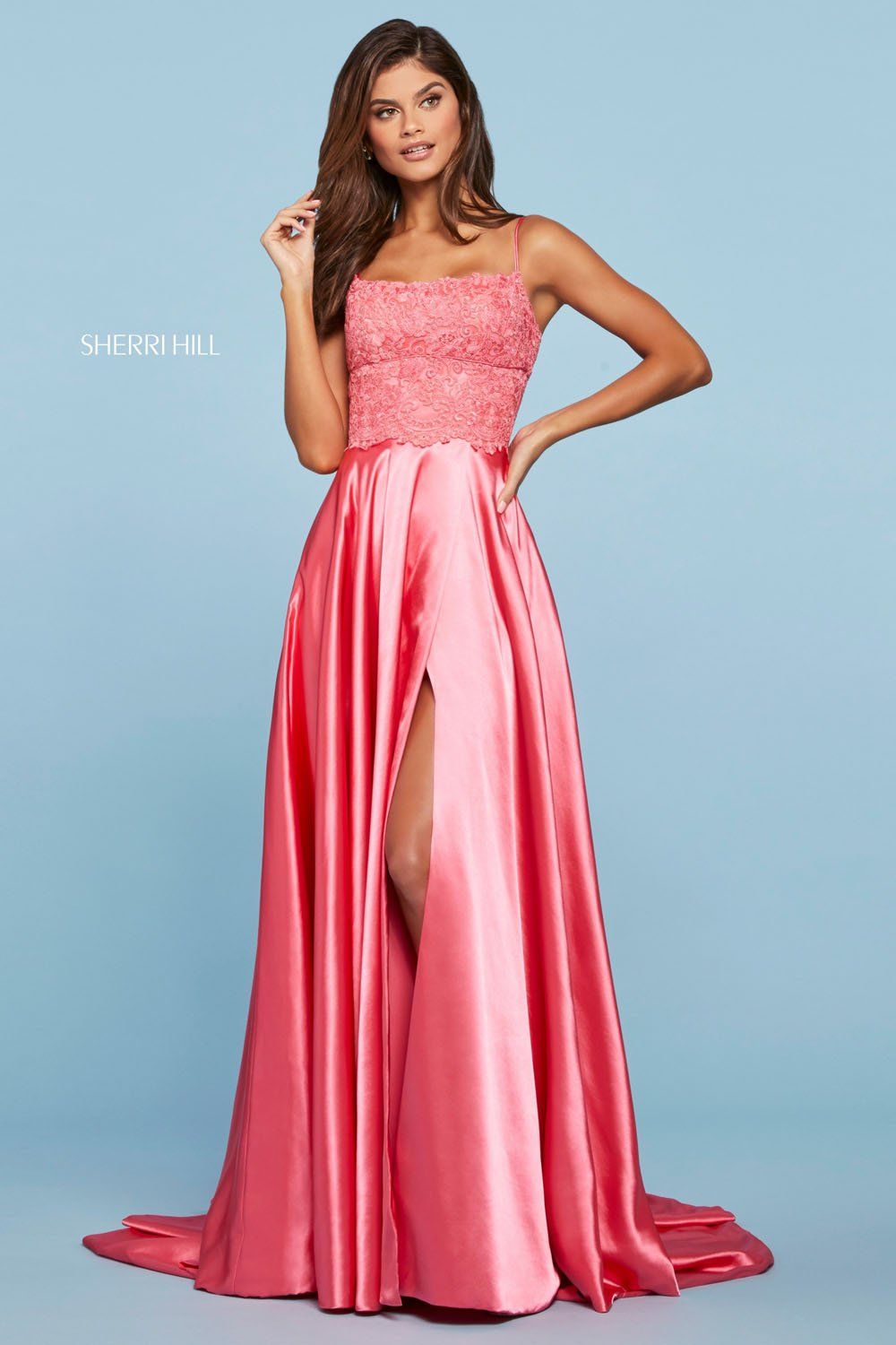 Sherri Hill 53300 prom dress images.  Sherri Hill 53300 is available in these colors: Lilac, Coral, Rose, Red, Peacock, Ivory, Aqua, Vintage Coral, Yellow, Light Blue, Black, Navy.