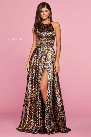 Sherri Hill 53301 prom dress images.  Sherri Hill 53301 is available in these colors: Animal Print.