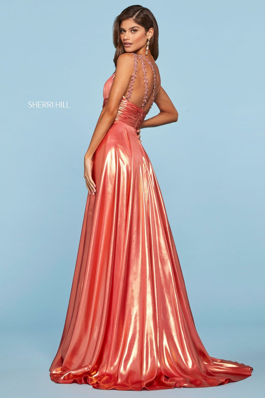 Sherri Hill 53303 prom dress images.  Sherri Hill 53303 is available in these colors: Lilac Gold, Coral Gold.