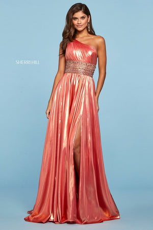 Sherri Hill 53304 prom dress images.  Sherri Hill 53304 is available in these colors: Coral Gold, Lilac Gold.