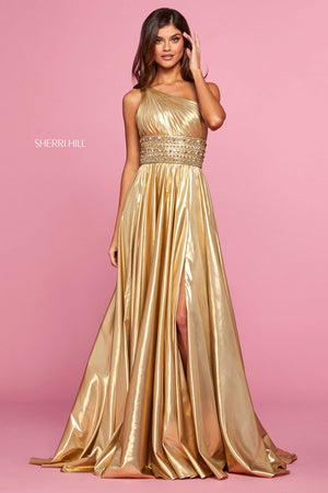 Sherri Hill 53305 prom dress images.  Sherri Hill 53305 is available in these colors: Gold.