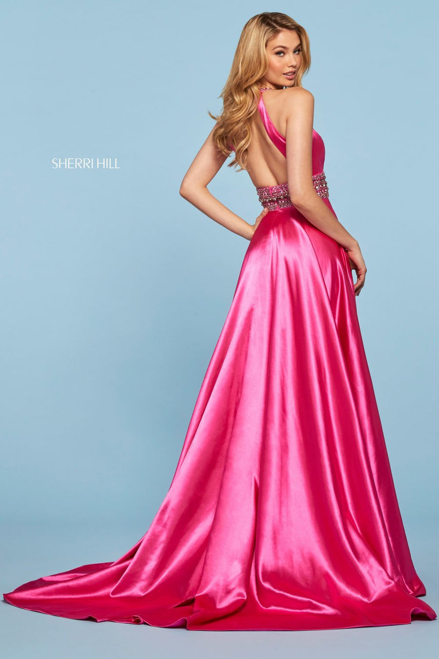 Sherri Hill 53306 prom dress images.  Sherri Hill 53306 is available in these colors: Teal, Royal, Rose, Lilac, Fuchsia, Vintage Coral, Mocha, Red.