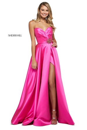 Sherri Hill 53308 prom dress images.  Sherri Hill 53308 is available in these colors: Bright Pink, Teal, Blush, Red, Light Blue, Emerald, Mocha, Aqua, Royal.