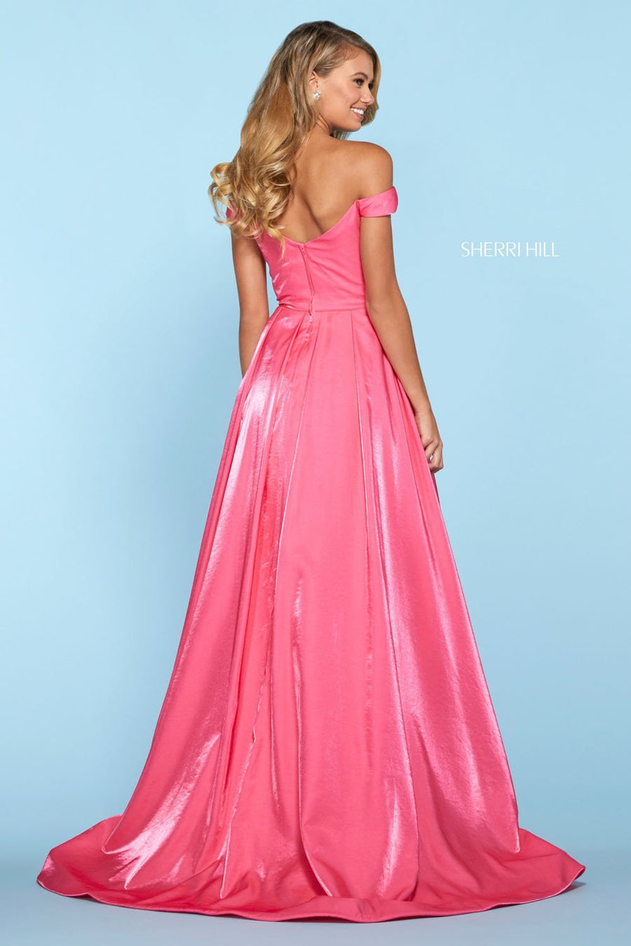 Sherri Hill 53309 prom dress images.  Sherri Hill 53309 is available in these colors: Red, Aqua, Hot Pink, Purple, Coral, Teal, Navy.