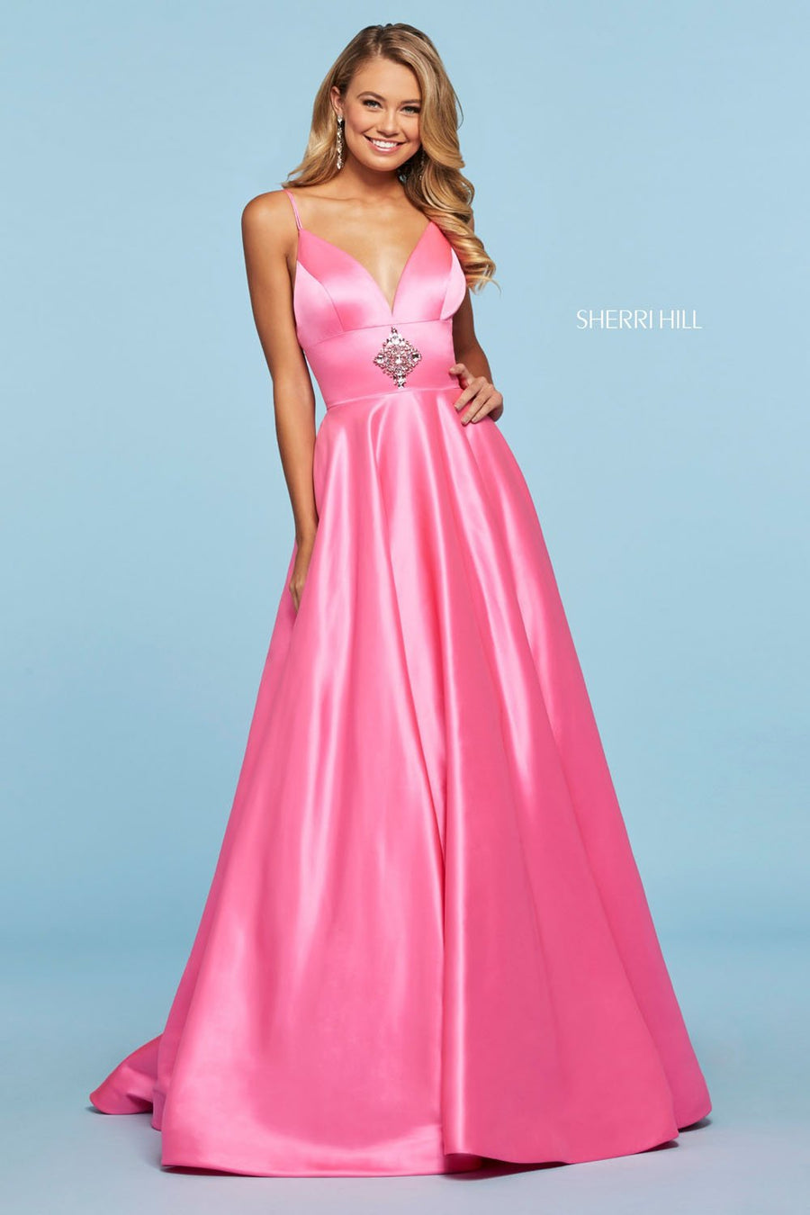 Sherri Hill 53312 prom dress images.  Sherri Hill 53312 is available in these colors: Lilac, Coral, Aqua, Ivory, Yellow, Candy Pink, Light Blue, Blush, Red, Black, Emerald, Royal.