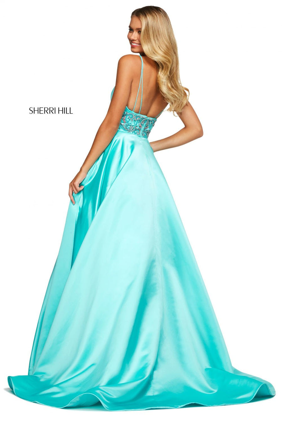 Sherri Hill 53313 prom dress images.  Sherri Hill 53313 is available in these colors: Red, Purple, Emerald, Mocha, Royal, Rose, Teal, Blush, Ivory, Candy Pink, Ivory Silver Gold, Aqua.