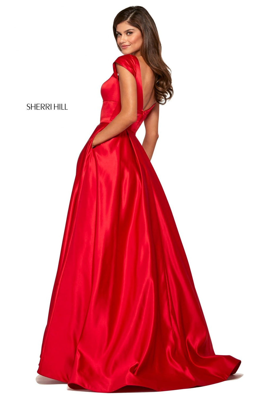Sherri Hill 53314 prom dress images.  Sherri Hill 53314 is available in these colors: Candy Pink, Mocha, Yellow, Ivory, Blush, Light Blue, Emerald, Lilac, Red.