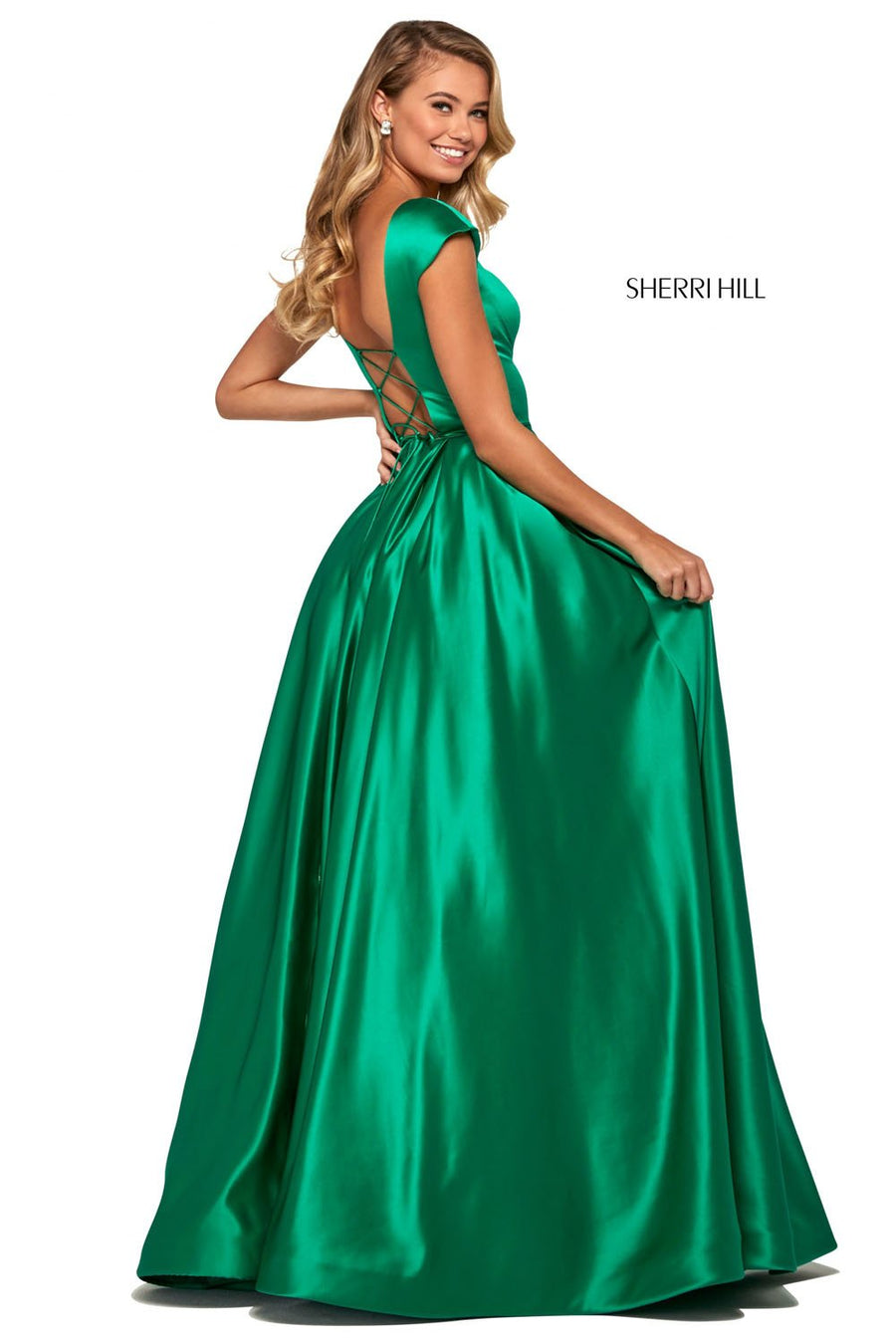 Sherri Hill 53315 prom dress images.  Sherri Hill 53315 is available in these colors: Navy, Coral, Candy Pink, Ivory, Yellow, Periwinkle, Aqua, Red, Lilac, Blush, Light Blue, Emerald, Fuchsia, Black.