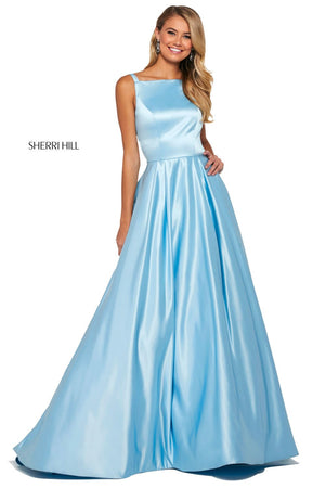 Sherri Hill 53316 prom dress images.  Sherri Hill 53316 is available in these colors: Candy Pink, Ivory, Lilac, Emerald, Blush, Light Blue, Royal, Red.