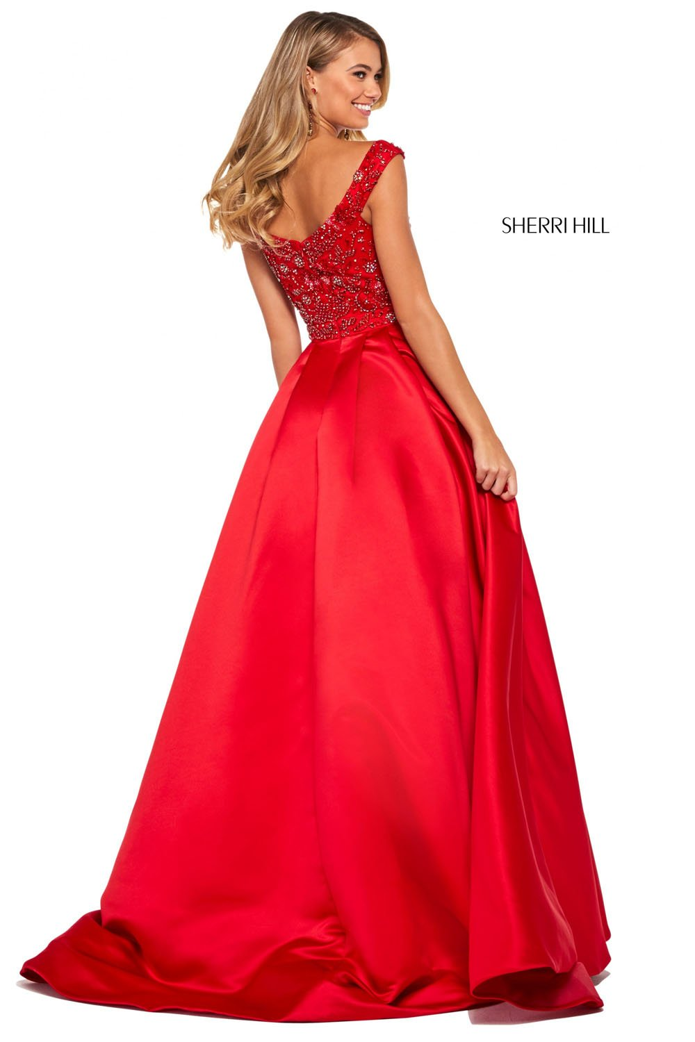 Sherri Hill 53317 prom dress images.  Sherri Hill 53317 is available in these colors: Royal, Teal, Red, Emerald, Black, Ivory, Candy Pink, Aqua.