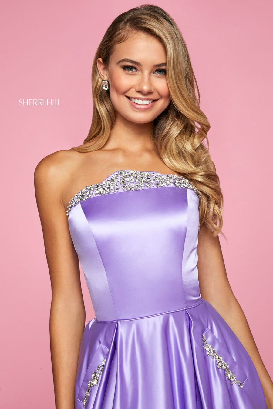 Sherri Hill 53320 prom dress images.  Sherri Hill 53320 is available in these colors: Bright Pink, Teal, Yellow, Emerald, Red, Ivory, Aqua, Lilac, Blush, Light Blue, Coral, Black, Candy Pink.
