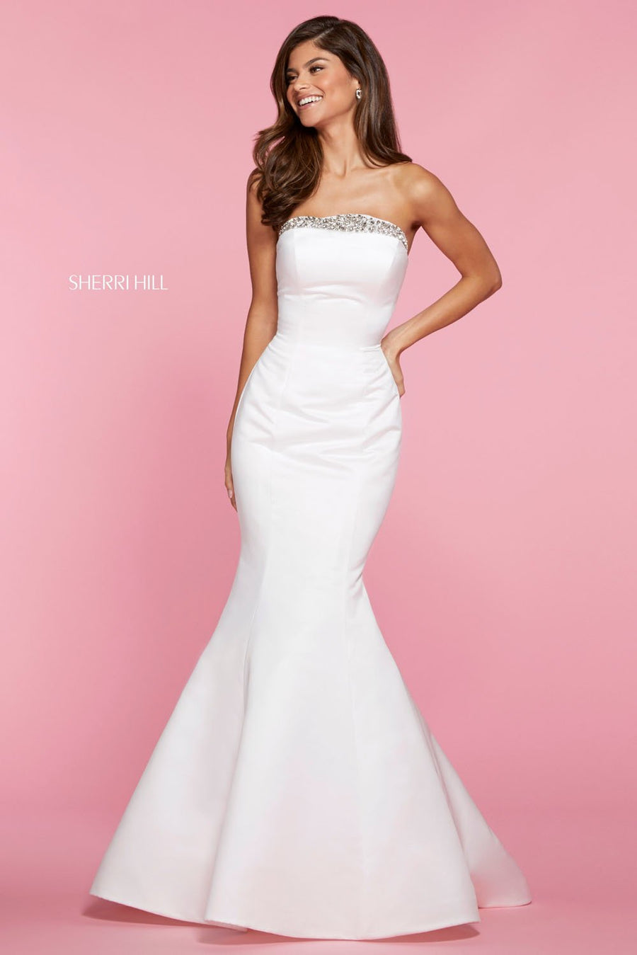 Sherri Hill 53321 prom dress images.  Sherri Hill 53321 is available in these colors: Ivory, Yellow, Light Blue, Blush, Teal, Bright Pink, Emerald, Red.