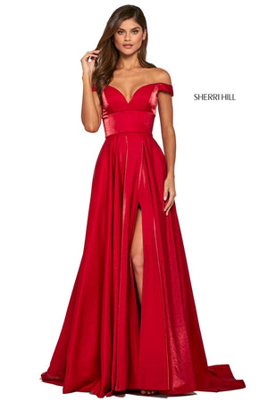 Sherri Hill 53324 prom dress images.  Sherri Hill 53324 is available in these colors: Bright Pink, Black, Navy, Dark Rose, Purple, Teal, Wine, Red.