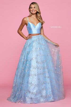 Sherri Hill 53326 prom dress images.  Sherri Hill 53326 is available in these colors: Navy, Ivory, Light Blue.