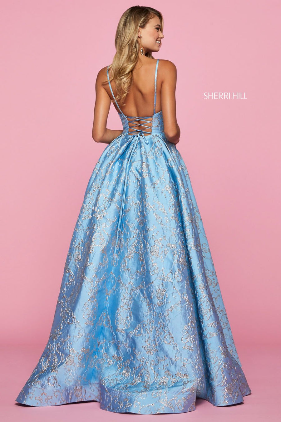 Sherri Hill 53328 prom dress images.  Sherri Hill 53328 is available in these colors: Rose, Light Blue, Lilac.