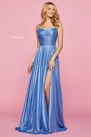 Sherri Hill 53330 prom dress images.  Sherri Hill 53330 is available in these colors: Light Blue, Silver, Champagne, Gunmetal, Periwinkle, Peach.