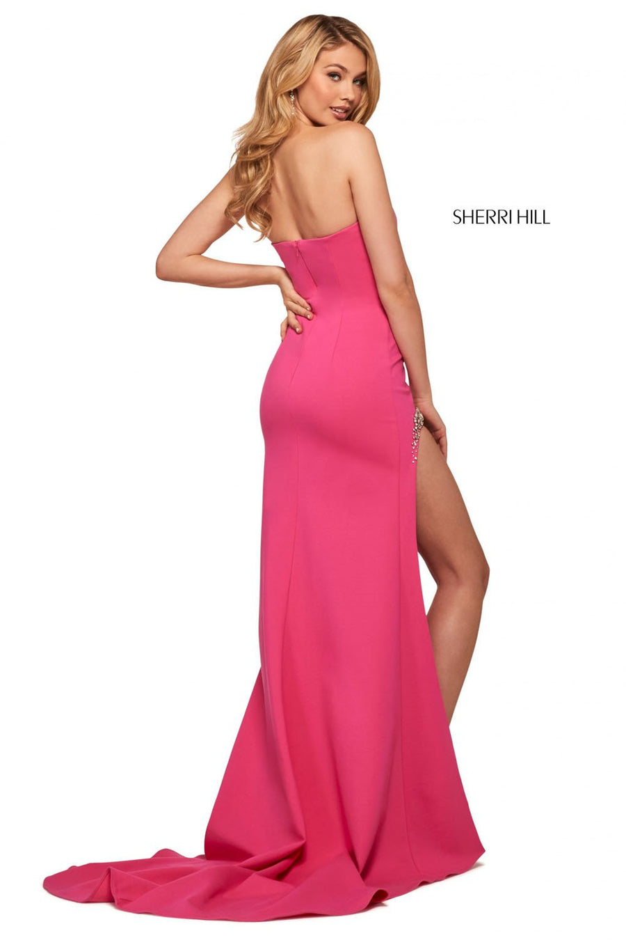 Sherri Hill 53332 prom dress images.  Sherri Hill 53332 is available in these colors: Red, Light Blue, Ivory, Black, Yellow, Fuchsia, Orange.