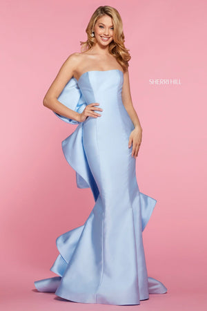 Sherri Hill 53334 prom dress images.  Sherri Hill 53334 is available in these colors: Light Blue, Yellow, Pink, Black, Red, Lilac.