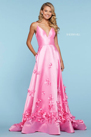 Sherri Hill 53337 prom dress images.  Sherri Hill 53337 is available in these colors: Lilac, Light Blue, Candy Pink, Yellow, Ivory, Red.