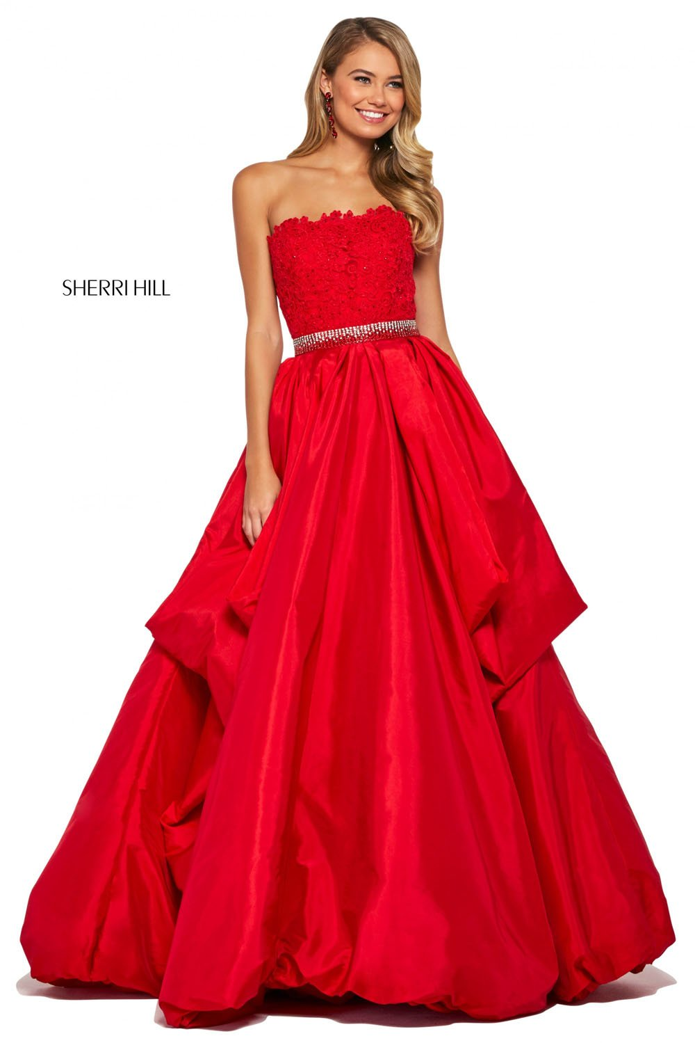 Sherri Hill 53339 prom dress images.  Sherri Hill 53339 is available in these colors: Ivory, Red, Navy, Black, Yellow.