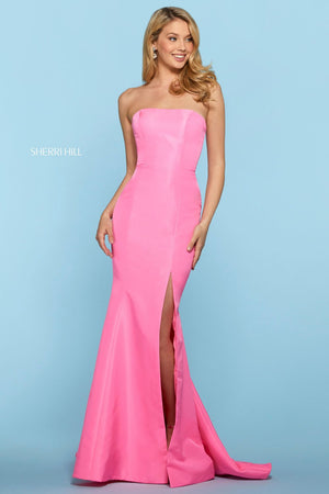 Sherri Hill 53341 prom dress images.  Sherri Hill 53341 is available in these colors: Yellow, Light Blue, Emerald, Black, Lilac, Red, Candy Pink, Royal, Coral, Navy, Fuchsia.