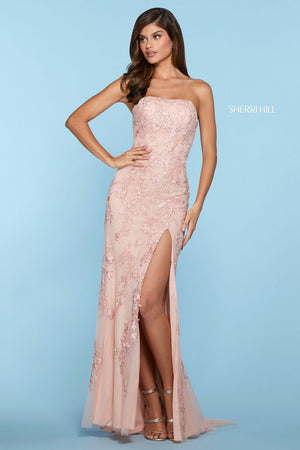 Sherri Hill 53345 prom dress images.  Sherri Hill 53345 is available in these colors: Red, Gold, Ivory, Yellow, Black, Light Blue, Blush, Lilac, Bright Pink, Coral, Ivory Nude.