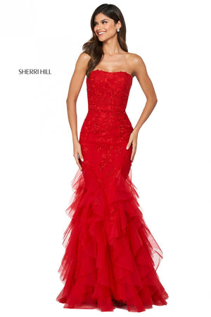 Sherri Hill 53346 prom dress images.  Sherri Hill 53346 is available in these colors: Yellow, Black, Light Blue, Red, Ivory, Blush, Coral, Bright Pink, Gold, Lilac.