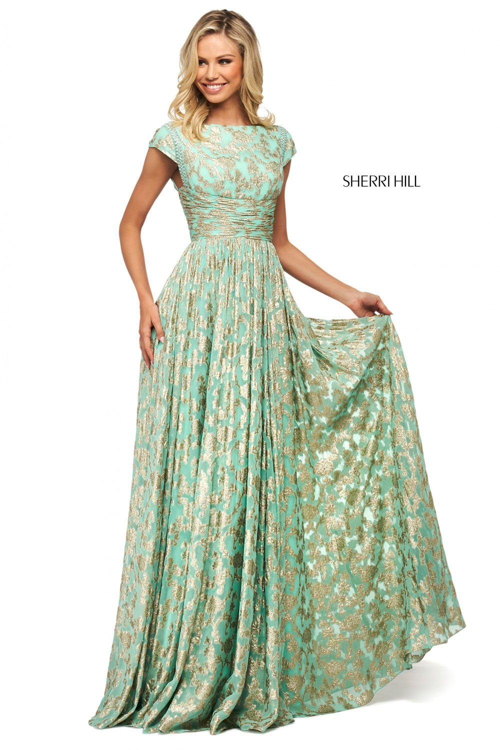 Sherri Hill 53348 prom dress images.  Sherri Hill 53348 is available in these colors: Aqua Gold, Ivory Gold, Blush Gold.