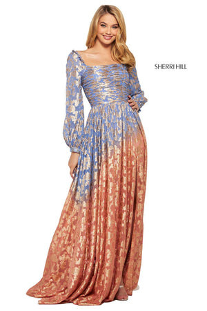 Sherri Hill 53349 prom dress images.  Sherri Hill 53349 is available in these colors: Nude Aqua, Light Blue Pink, Coral Pink, Periwinkle Coral, Lilac Gold.
