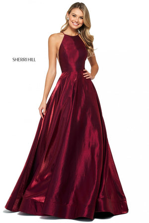 Sherri Hill 53350 prom dress images.  Sherri Hill 53350 is available in these colors: Yellow, Wine, Royal, Plum, Black, Teal, Fuchsia, Rose.