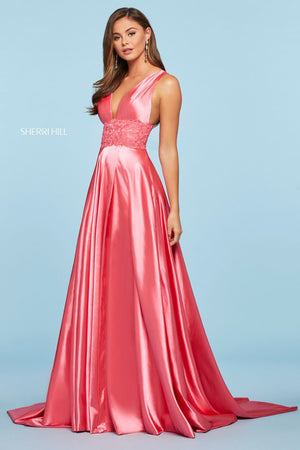 Sherri Hill 53352 prom dress images.  Sherri Hill 53352 is available in these colors: Coral, Vintage Coral, Rose, Turquoise, Red, Emerald, Lilac, Ivory, Navy, Royal, Light Blue, Wine, Mocha, Black, Yellow.