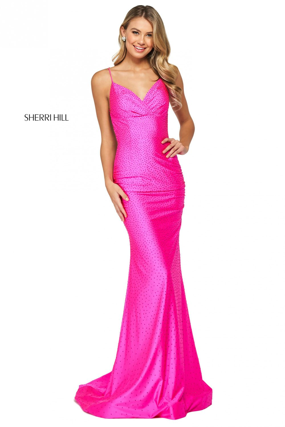 Sherri Hill 53355 prom dress images.  Sherri Hill 53355 is available in these colors: Black, Yellow, Red, Light Blue, Royal, Emerald, Nude, Bright Pink, Gunmetal.