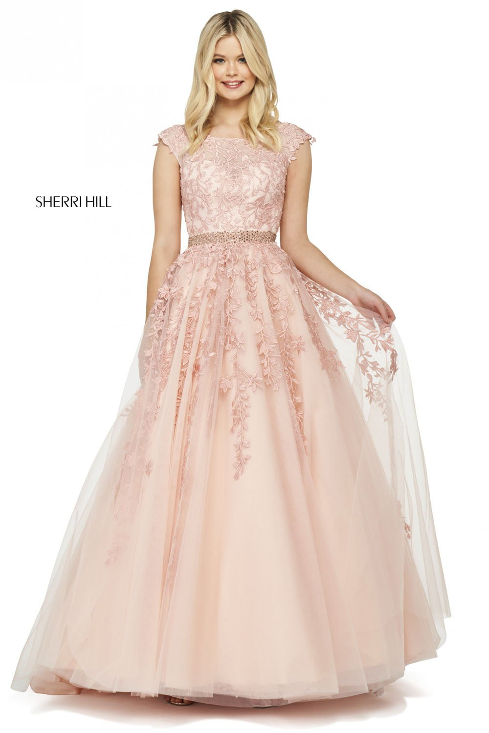 Sherri Hill 53356 prom dress images.  Sherri Hill 53356 is available in these colors: Gold, Ivory Nude, Bright Pink, Light Blue, Blush, Yellow, Coral, Lilac, Navy, Red.