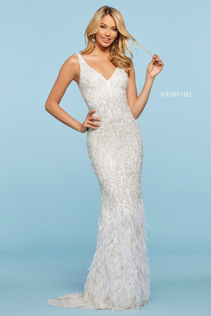 Sherri Hill 53367 prom dress images.  Sherri Hill 53367 is available in these colors: Ivory, Black, Nude Silver.