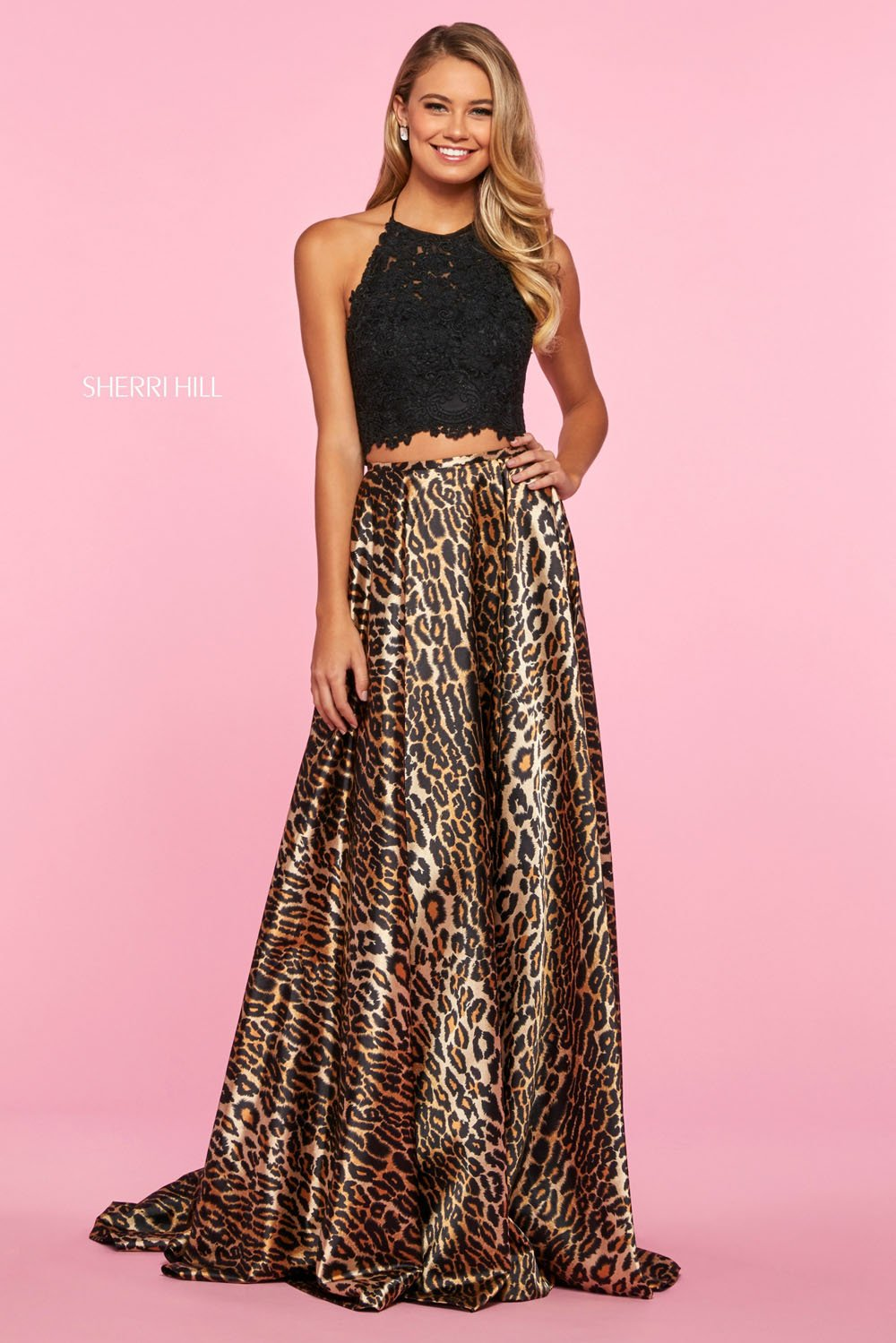 Sherri Hill 53369 prom dress images.  Sherri Hill 53369 is available in these colors: Black Animal.