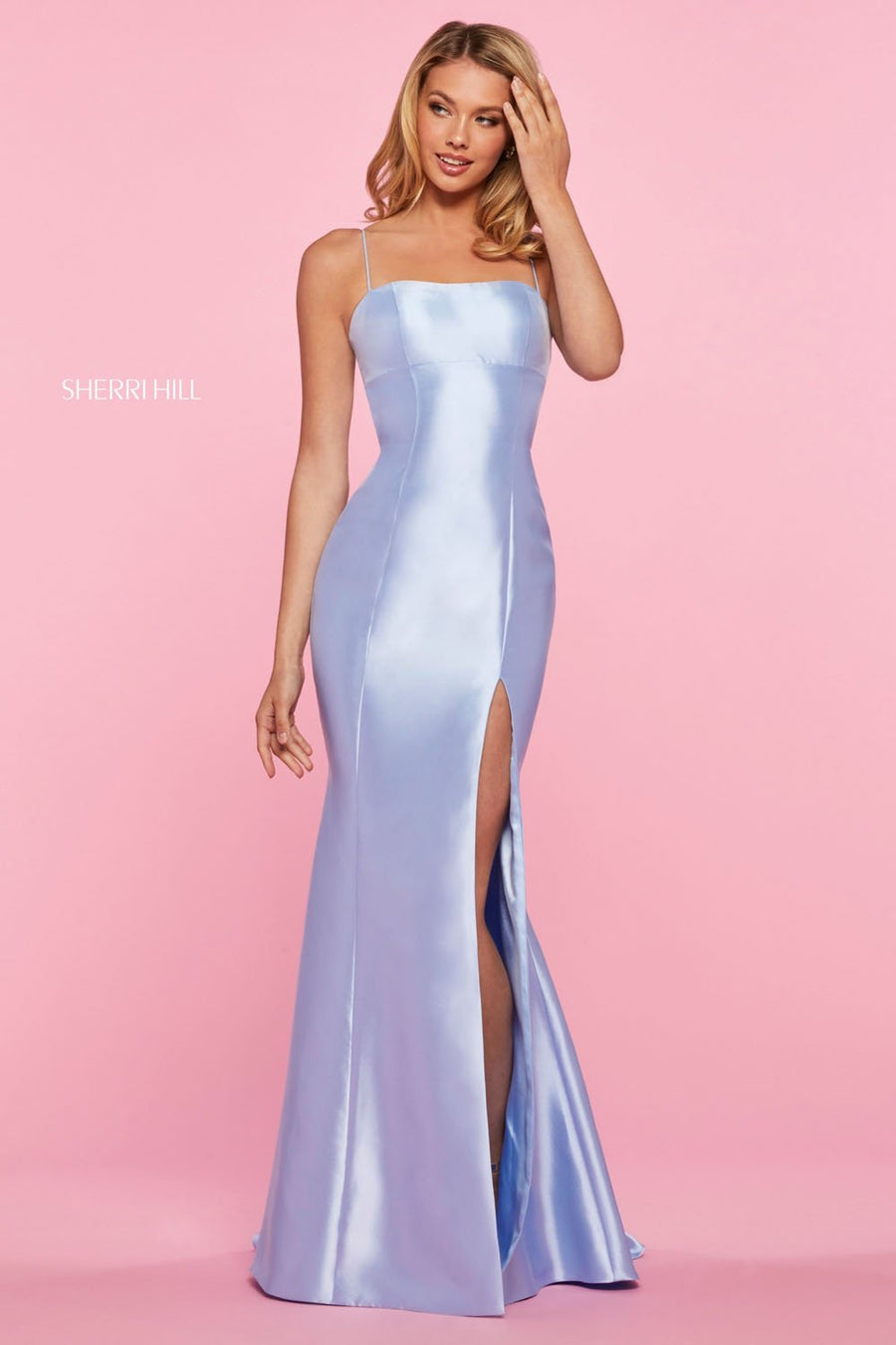 Sherri Hill 53373 prom dress images.  Sherri Hill 53373 is available in these colors: Light Blue, Yellow, Emerald, Red.