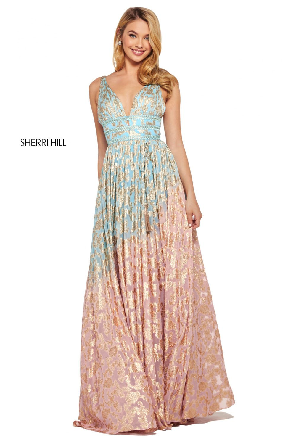 Sherri Hill 53375 prom dress images.  Sherri Hill 53375 is available in these colors: Light Blue Pink, Nude Aqua, Lilac Gold, Periwinkle Coral.