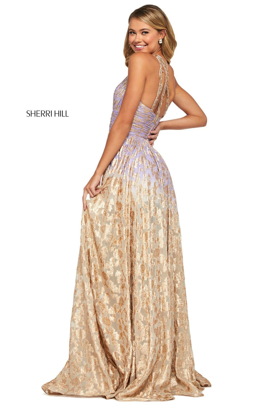Sherri Hill 53376 prom dress images.  Sherri Hill 53376 is available in these colors: Nude Aqua, Periwinkle Coral, Lilac Gold, Light Blue Pink, Coral Pink.
