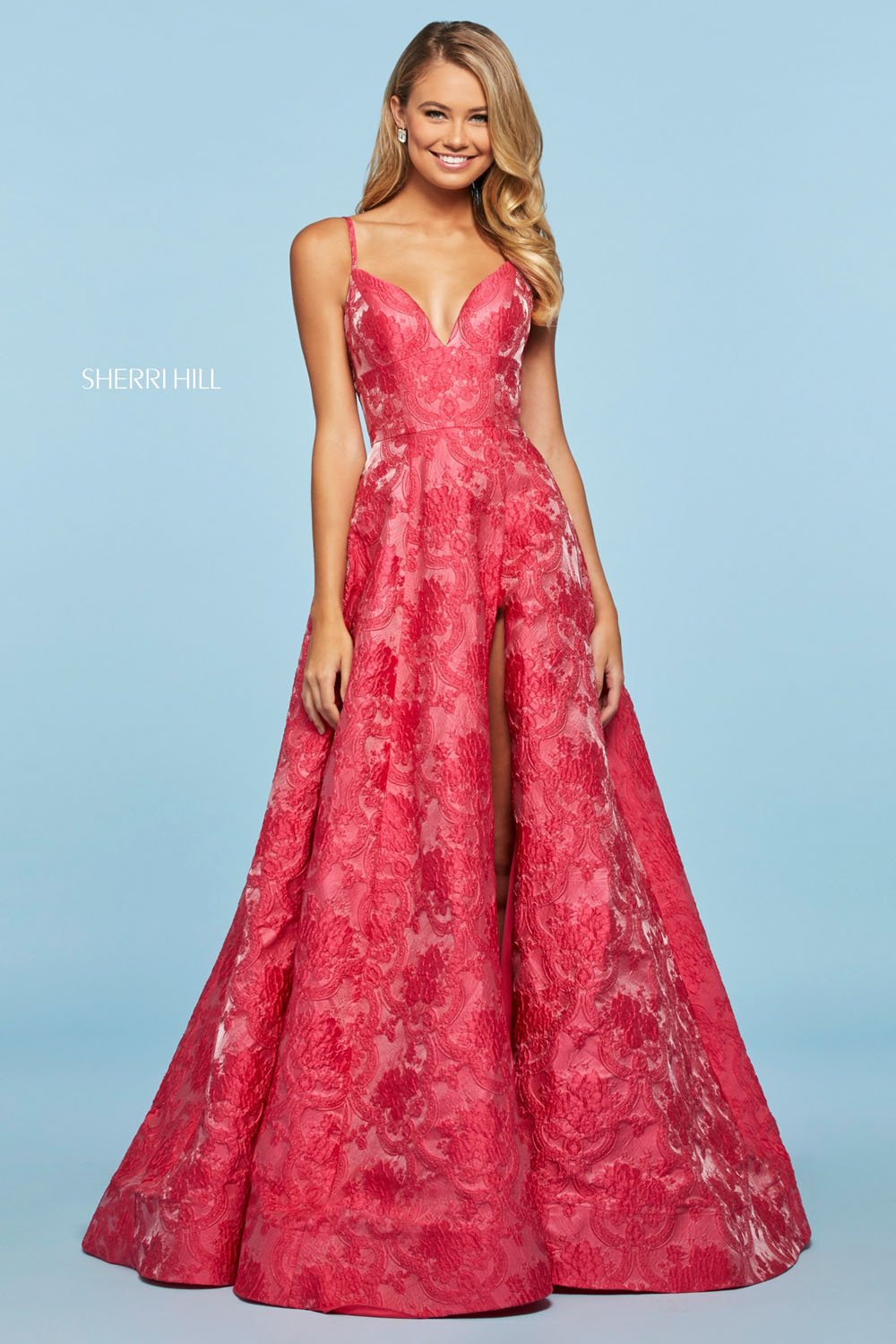Sherri Hill 53378 prom dress images.  Sherri Hill 53378 is available in these colors: Blush, Fuchsia, Black.