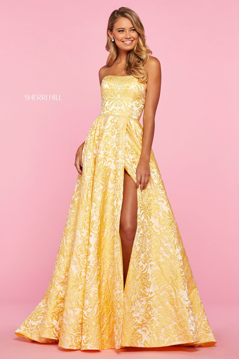 Sherri Hill 53379 prom dress images.  Sherri Hill 53379 is available in these colors: Coral Print, Yellow Print, Blue Print.